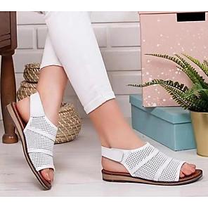cheap Women's Sandals-Women's Sandals Flat Sandal Summer Flat Heel Open Toe Daily PU White / Black / Brown