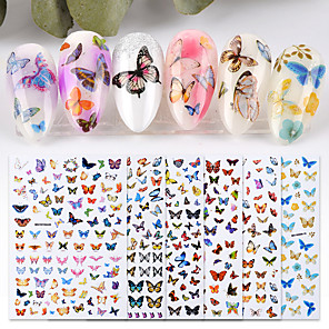 cheap Rhinestone & Decorations-6 Sheet New Nail Art Self-adhesive Nail Sticker Tip Decal Decoration Cartoon Cute Butterfly Design DIY Manicure Accessories Tool