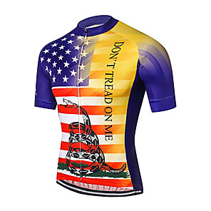 cheap Cycling Jerseys-21Grams Men's Short Sleeve Cycling Jersey Spandex Polyester Red+Blue American / USA Snake National Flag Bike Jersey Top Mountain Bike MTB Road Bike Cycling UV Resistant Breathable Quick Dry Sports