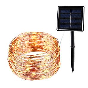 tanie Taśmy świetlne LED-10 m Łańcuchy świetlne 100 Diody LED 1 zestaw Ciepła biel Walentynki Święta Wodoodporny Na zewnątrz Na energię słoneczną Zasilanie solarne