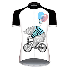 cheap Cycling Jerseys-21Grams Women's Short Sleeve Cycling Jersey Black / White Novelty Animal Balloon Bike Jersey Top Mountain Bike MTB Road Bike Cycling UV Resistant Breathable Quick Dry Sports Clothing Apparel / Bear
