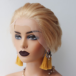 cheap Synthetic Lace Wigs-Human Hair 13x6 Closure Wig Bob style Brazilian Hair Natural Wave Blonde Wig 150% Density Smooth Women Best Quality Hot Sale Comfortable Women's Short Human Hair Lace Wig Dolago / Natural Hairline