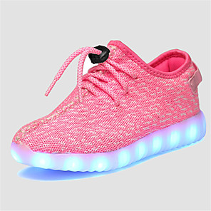 cheap Kids' LED Shoes-Unisex LED / LED Shoes / USB Charging Tulle Sneakers Little Kids(4-7ys) / Big Kids(7years +) Lace-up / LED / Luminous Grey / Pink / Blue Spring / Fall / Rubber