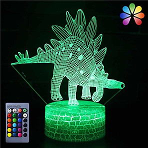 cheap 3D Night Lights-Dinosaur Toys Night Light - 3D Night Lamp with Three Patterns & Remote Control & Smart Touch16 Colors Changing Dimmable Brithday Gifts for 2 3 4 5 6 7 8 Year Old Boys Girls Dinosaur Fans