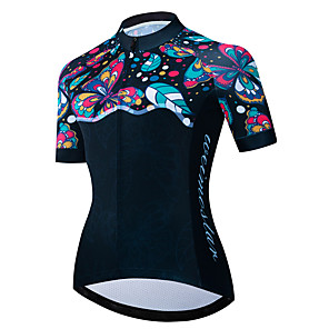 cheap Cycling Jerseys-21Grams Women's Short Sleeve Cycling Jersey Black / Blue Butterfly Floral Botanical Bike Jersey Top Mountain Bike MTB Road Bike Cycling UV Resistant Breathable Quick Dry Sports Clothing Apparel