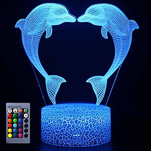cheap 3D Night Lights-3D Illusion Dolphin Delphinus delphis Night Lamp 16 Color Change Touch White Crack Base Power by AA Batteries with Remote Control