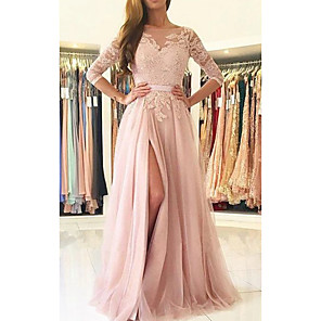 cheap Evening Dresses-A-Line Cut Out Beautiful Back Engagement Prom Dress Illusion Neck Half Sleeve Sweep / Brush Train Chiffon Lace with Split Lace Insert 2020