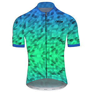 cheap Cycling Jerseys-21Grams Men's Short Sleeve Cycling Jersey Green Plaid / Checkered Gradient Geometic Bike Jersey Top Mountain Bike MTB Road Bike Cycling UV Resistant Breathable Quick Dry Sports Clothing Apparel