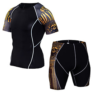 cheap Men's Activewear Sets-JACK CORDEE Men's 2 Piece Activewear Set Workout Outfits Compression Suit Athletic Athleisure Short Sleeve Thermal Warm Moisture Wicking Breathable Gym Workout Running Active Training Jogging