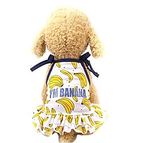 cheap Dog Clothes-Dog Cat Dress Vest Dog Clothes Yellow Gold Costume Husky Golden Retriever Dalmatian Mesh Fruit Stylish Cute XS S M L XL
