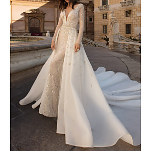 cheap Floral/Botanical Paintings-Sheath / Column Wedding Dresses V Neck Watteau Train Tulle Long Sleeve Country Plus Size with Beading Draping Appliques 2020