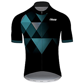 cheap Cycling Jerseys-21Grams Men's Short Sleeve Cycling Jersey Black / Green Plaid / Checkered Geometic Bike Jersey Top Mountain Bike MTB Road Bike Cycling UV Resistant Breathable Quick Dry Sports Clothing Apparel
