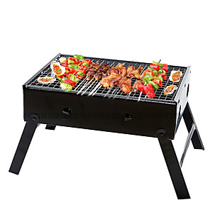 cheap New Arrivals-Thickened Folding Household BBQ Grill Outdoor Portable Barbecue Stove Cen Chi Black Steel Stove