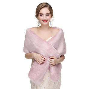cheap Wedding Wraps-2020 Women's Sleeveless Shawls Faux Fur Party Evening Shawl & Wrap with Button
