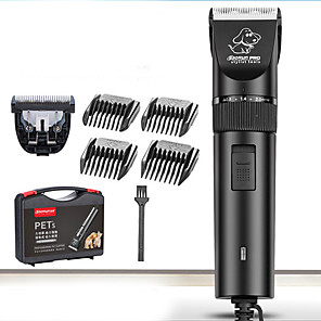 cheap Dog Grooming Supplies-Cat Pets Dog Grooming Hair Trimmers Hair Clipper Tool Kit Pet Hair Remover Cordless Ceramic Clipper & Trimmer Waterproof Low Noise Electric Pet Grooming Supplies Black 1 set
