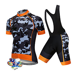 cheap Synthetic Lace Wigs-21Grams Men's Short Sleeve Cycling Jersey with Bib Shorts Spandex Polyester White Black Patchwork Camo / Camouflage Bike Clothing Suit UV Resistant Breathable 3D Pad Quick Dry Sweat-wicking Sports