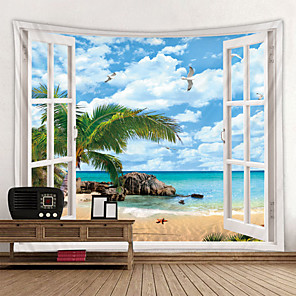 cheap Wall Tapestries-Beach Outside The Window Printed Tapestry Cheap Hippie Wall Hanging Bohemian Wall Tapestries Mandala Wall Art Deco
