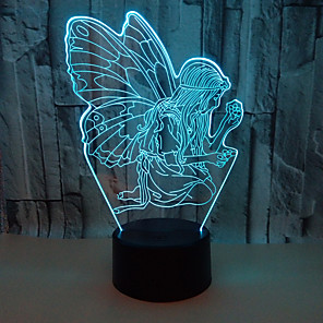 cheap 3D Night Lights-Angel 3D Nightlight Night Light Color-Changing / with USB Port USB 1pc