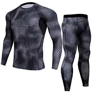 cheap Men's Activewear Sets-JACK CORDEE Men's 2 Piece Activewear Set Workout Outfits Compression Suit Athletic Long Sleeve Moisture Wicking Breathability Quick Dry Fitness Gym Workout Basketball Running Sportswear Snakeskin