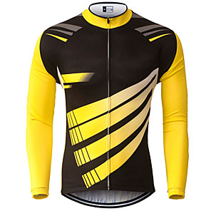 cheap Cycling Jerseys-21Grams Men's Long Sleeve Cycling Jersey Spandex Polyester Black / Yellow Geometic Bike Jersey Top Mountain Bike MTB Road Bike Cycling UV Resistant Breathable Quick Dry Sports Clothing Apparel