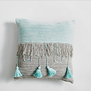 cheap Pillow Covers-Polyester Contrast stitching tassel pillowcase 45*45cm