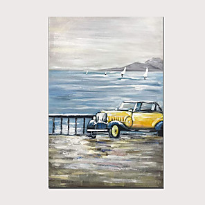 cheap Abstract Paintings-100% Hand Painted Classic Yellow Vintage Car Modern Abstract Vertical Oil Paintings for Home Decor with Wood Inside Framed Ready to Hang