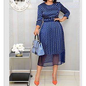 cheap Wedding Shoes-Women's A Line Dress - 3/4 Length Sleeve Polka Dot Blue S M L XL XXL XXXL