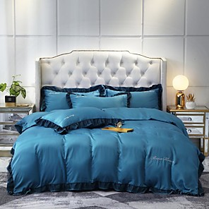 cheap Solid Duvet Covers-Goddess Small Money Lace Decorative Quilt Cover 4 Piece Embroidery Piece Bedding Plain Sheets
