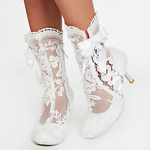 cheap Women's Boots-Women's Boots 2020 Stiletto Heel Round Toe Ribbon Tie Lace Booties / Ankle Boots Sweet / Minimalism Spring &  Fall / Spring & Summer White / Wedding / Party & Evening