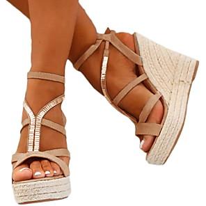 cheap Women's Sandals-Women's Sandals Wedge Sandals Wedge Heel Open Toe Daily PU Summer Black / Silver