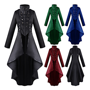 cheap Historical & Vintage Costumes-Plague Doctor Adults' Women's Retro Steampunk Dress Frock Coat For Party Halloween Festival Polyster Halloween Carnival Masquerade Coat