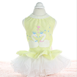 cheap Dog Clothes-Dog Dress Princess Casual / Daily Dog Clothes Yellow Pink Costume Cotton XS S M L XL