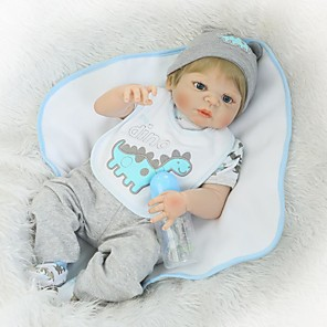 cheap Reborn Doll-NPKCOLLECTION 24 inch NPK DOLL Reborn Doll Baby Boy Reborn Toddler Doll Newborn Gift Hand Made Child Safe Non Toxic Cloth 3/4 Silicone Limbs and Cotton Filled Body with Clothes and Accessories for