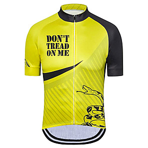 cheap Cycling Jersey & Shorts / Pants Sets-21Grams Men's Short Sleeve Cycling Jersey Black / Yellow American / USA Snake National Flag Bike Jersey Top Mountain Bike MTB Road Bike Cycling UV Resistant Breathable Quick Dry Sports Clothing