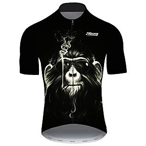 cheap Cycling Jerseys-21Grams Men's Short Sleeve Cycling Jersey Black Novelty Animal Monkey Bike Jersey Top Mountain Bike MTB Road Bike Cycling UV Resistant Breathable Quick Dry Sports Clothing Apparel / Stretchy