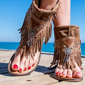 cheap Women's Sandals-Women's Sandals Flat Sandal Summer Flat Heel Open Toe Daily PU Brown / Coffee