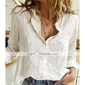 cheap Women's Sandals-Women's Shirt Solid Colored Tops Shirt Collar White Black Blue / Holiday