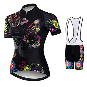 cheap Cycling Jersey & Shorts / Pants Sets-21Grams Women's Short Sleeve Cycling Jersey with Bib Shorts Black / Red Butterfly Floral Botanical Bike Clothing Suit Breathable 3D Pad Quick Dry Ultraviolet Resistant Sweat-wicking Sports Butterfly