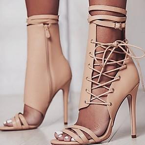 cheap Women's Boots-Women's Sandals Summer Stiletto Heel Open Toe Daily PU Black / Beige