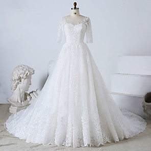 cheap Men's Slip-ons & Loafers-Ball Gown Wedding Dresses Jewel Neck Watteau Train Tulle Lace Over Satin Half Sleeve Formal Plus Size Elegant with Beading Lace Insert Appliques 2020 / Illusion Sleeve