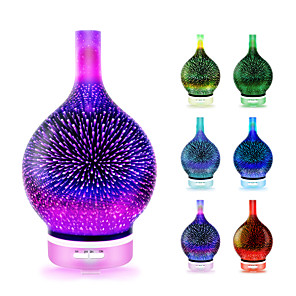 cheap Humidifiers-Essential oil diffuser 3D Glass Starry Sky Aromatherapy Oil Diffuser Cold Mist Ultrasonic Humidifier With 7 Color Changing LED 120ml Home Office Yoga Baby SleepWater shortage automatic shutdown