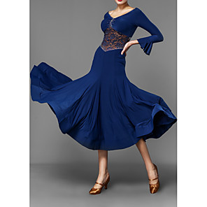 cheap Ballroom Dancewear-Ballroom Dance Dress Pleats Women's Performance 3/4 Length Sleeve Polyester Taffeta