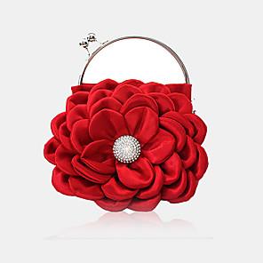 baratos Clutches & Bolsas de Noite-Mulheres Detalhes em Cristal / Flor Seda Bolsa de Festa Côr Sólida Vermelho / Branco
