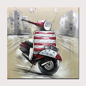 cheap Oil Paintings-Red Motorcycle Hand Painted on Canvas Street Scene Oil Painting  Modern Artwork for Home Decor with Frame Ready to Hang