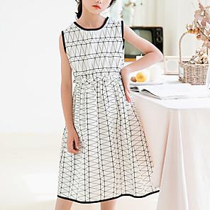 cheap Girls' Dresses-Kids Girls' Basic Sophisticated Geometric Sleeveless Midi Dress White