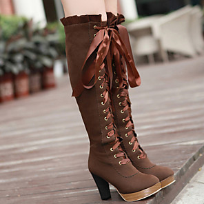 cheap Women's Boots-Women's Boots Knee High Boots Chunky Heel Round Toe Suede Knee High Boots Fall & Winter Black / Brown
