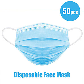 cheap Face Masks-50pcs Face Mouth Mask Disposable Protect 3 Layers Filter Dustproof Earloop Non Woven Mouth Masks