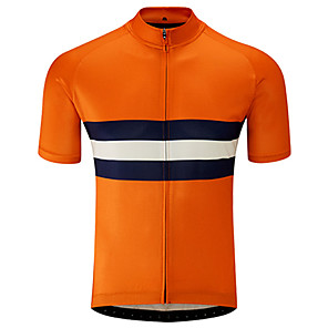 cheap Cycling Jerseys-21Grams Men's Short Sleeve Cycling Jersey Black / Orange Stripes Bike Jersey Top Mountain Bike MTB Road Bike Cycling UV Resistant Breathable Quick Dry Sports Clothing Apparel / Stretchy / Race Fit