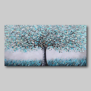 cheap Abstract Paintings-Oil Painting Hand Painted - Abstract Comtemporary Modern Stretched Canvas Blue Grey Trees