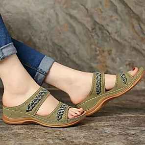 cheap Women's Sandals-Women's Sandals Summer Wedge / Creepers Open Toe Daily Casual PU Dark Brown / Black / Yellow